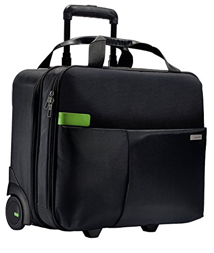 Leitz, Business Softcase Handgepäck-Trolley, Smart Traveller, 17 Fächer, 44 x 37,5 x 23 cm, Polyester/Metall/Leder, Complete, Schwarz, 60590095 (Business Trolley)