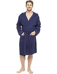 Foxbury Mens Hooded Dressing Gown Bath Robe Wrap Soft 100% Cotton Jersey  Summer Lightweight Kimono dcdaaf7ec