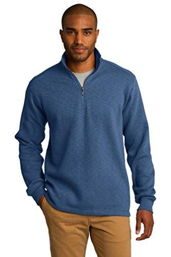 port-authority-mens-textured-cadet-collar-fleece-1-4-zip-pullover-twilight-blue-f295-l