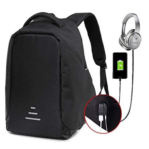 Antifurto zaino uomo con porta usb zaino impermeabile zaino scuola superiore zaino per computer zaino da viaggio zaino donne daypack nero (nero)