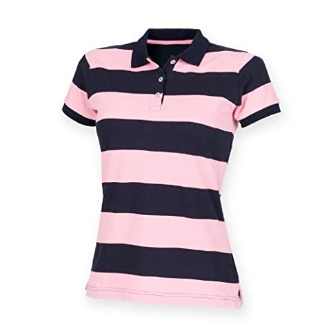 Front Row Womens/Ladies Striped Pique Slim Fit Polo Shirt (M) (Navy/ Pink)