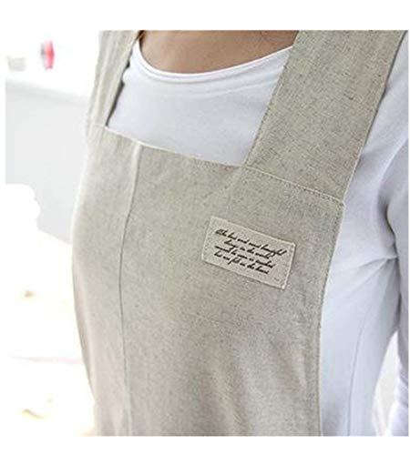 Delantal cocina halter lino algodón estilo japonés