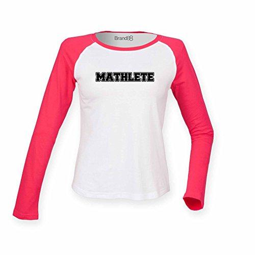 Brand88 - Mathlete, Damen Langarm Baseball T-Shirt Weiss & Rosa