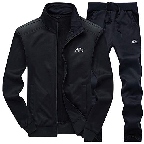 XIAOYUN Herren Trainingsanzug Athletic Sports Lässiger, Durchgehender, Warmer Jogging-Trainingsanzug mit Taschen,Schwarz,4XL -