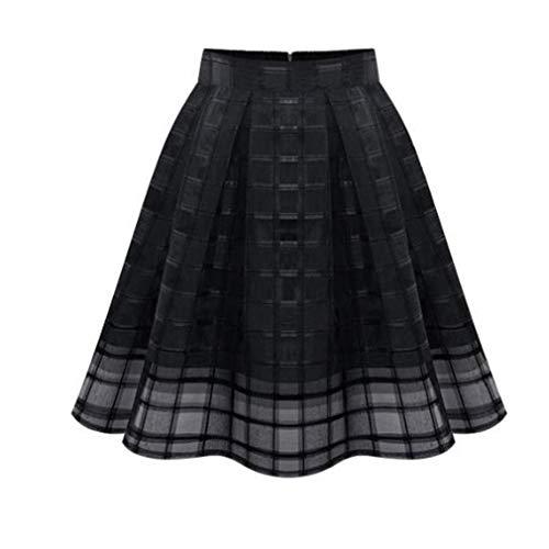 LIGHTBLUE Damen Organza A-Linie Röcke High Waist Zipper Damen Tüllrock, schwarz, XL -