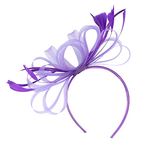 CUTUDE Feder Fascinators Hut Damen Blumen Mesh Hochzeit Braut Elegant Fascinator Haarreif Cocktail Tee Party Damen Fasching Kostüm Accessoires (Lila, Uniform code)