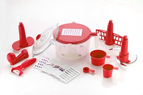 Slings 14 Pieces Manual Food Processor - Chopper, Grater, Cutter, Slicer, Dicer, Blender, Atta Maker, Dough Kneader, Peeler - Red  available at amazon for Rs.345
