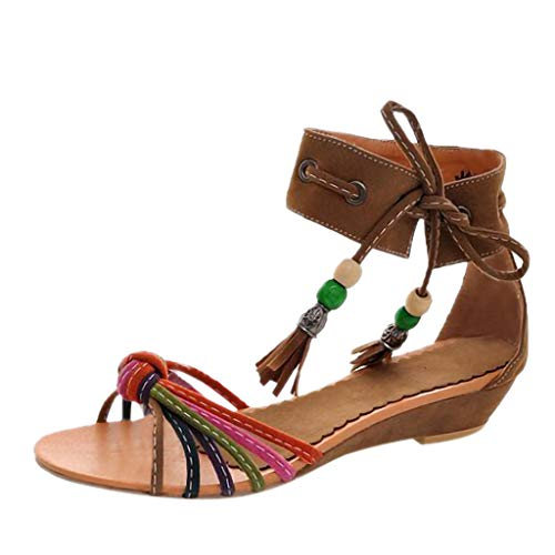 Deloito Sommer Pantoffeln Sexy Damen Boho Nationalität Knöchel Hausschuhe Quaste Perlen Wohnungen Keil Schuhe Niedrigem Absatz offener Zeh Sandalen (Gelb,36 EU)