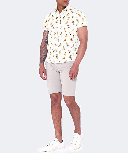 Guide London Hommes chemise à manches courtes pin-up Blanc Blanc