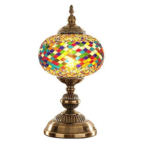 XXIONG Lámpara de Escritorio de Vidrio Coloreado - Luces de Mosaico Hechas a Mano Auténticas lámparas turcas marroquí otomano Lámpara de Mesa para Dormitorio, Sala, Habitación Infantil, Decoración,F