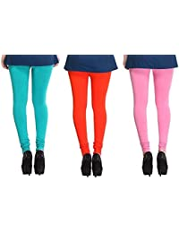 Leggings Free Size Cotton Lycra Churidar Leggings Pack Of 3 Light Blue , Orange & Pink By SMEXY
