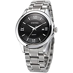 COMTEX Men's Quartz Watch with Stainless Steel Bracelet and Black Dial Analogue Display Dress Watch