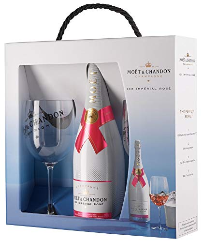 Moet & Chandon Ice Rosé Impérial Geschenk Set Champagner & 2 x Moët & Chandon Champagne Flutes (1 x 0.75 l) Champagner-set