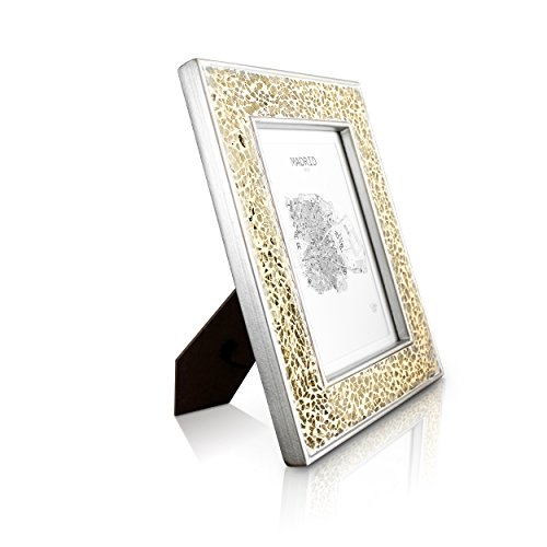 Bilderrahmen 13x18 cm - Mosaik - Glasfront - mit Passepartout für 10x15 Fotos - 4 cm Rahmenbreite - funkelndes Gold / Champagner (Gold-bilderrahmen 10 X 13)