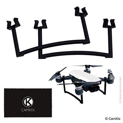 CAMKIX Extensiones Compatible con dji Spark - Juego de Engranajes de Aterrizaje para la Altura y la Seguridad adicionales - Da a su Drone más Distancia del Suelo - Máxima Estabilidad (Negro)