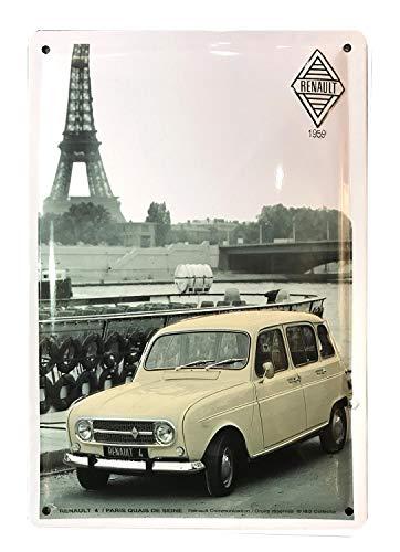 NART Plaque Métal bombée Relief : Renault 4 L à Paris, 30 x 20 cm