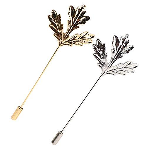 Soleebee Metall Ansteckblumen Herren Revers Pin Blume Set im Knopfloch Schläger Revers Krawatte Brosche Boutonniere für Anzug (2 Stück Retro Ahornblatt)