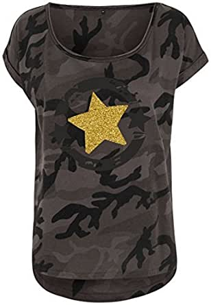 livingstyle wanddesign ladies camouflage t shirt glitter. Black Bedroom Furniture Sets. Home Design Ideas