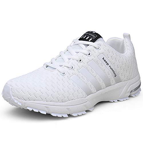 SOLLOMENSI Herren Damen Sportschuhe Laufschuh Turnschuhe Joggingschuhe Freizeitschuhe Sneakers Outdoor Schuhe Straßenlaufschuhe Traillaufschuhe 41 EU D1 Weiß -