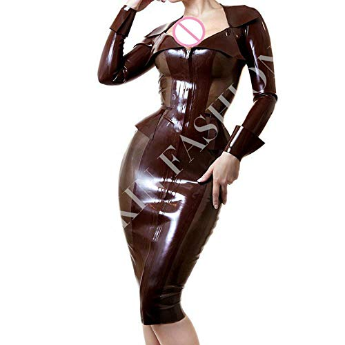 Women front zipper fashion one-piece latex dresses (XL(B100 W84 H102 cm))