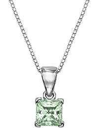 1/4 CT cristales de corte de la princesa de plata de ley colgante con Adjutable 40,64 cm cadena de la caja