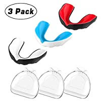 MoKo Sport Mouthguard with Vented Case, (3 Pack) Sports Safety Gear Strapless Mouth Guard for Youth/Adults, BPA Free, Custom Fit Athletic Teeth Mouth Guards for Boxing, Taekwondo, Wrestling, Baseball