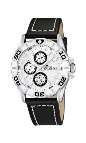 Lotus Men's Quartz Watch with White Dial Analogue Display and Black Leather Strap 15813/1