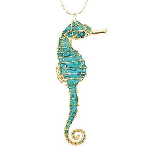 Parure Collier et Boucles d'Oreille Hippocampe Majestueux - Bijoux Fait Main en Argent fin Plaqué Or et Fimo, chaine en Or Laminé 50cm Turquoise