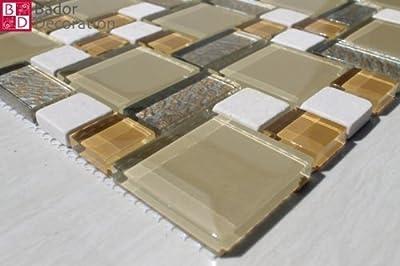 1 Matte Glasmosaik Mosaikfliesen Mosaike Glas marmoriert Beige Gelb Weiß 30x30 von Bador bei TapetenShop