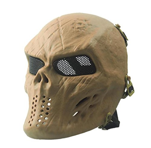 Covermason Halloween-Maske Airsoft Paintball Voll Gesicht Schädel-Skeleton CS Maske Tactical Military Mask (Khaki)