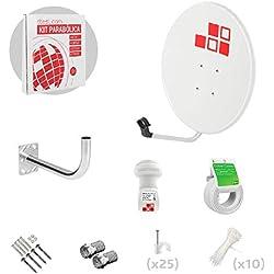 Diesl.com - Kit Parabole 80cm + LNB + Support d'antenne + 20 mètres de câble + Goujons de mur + 2x F Connecteurs + 10x Brides + 25x Agrafes
