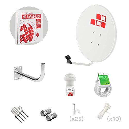 Diesl.com - Kit parabolico da 60cm + LNB + Supporto antenna + Cavo 25 metri + Borchie a muro + 2x F Connecttori + 10x Flange + 25x Graffetta