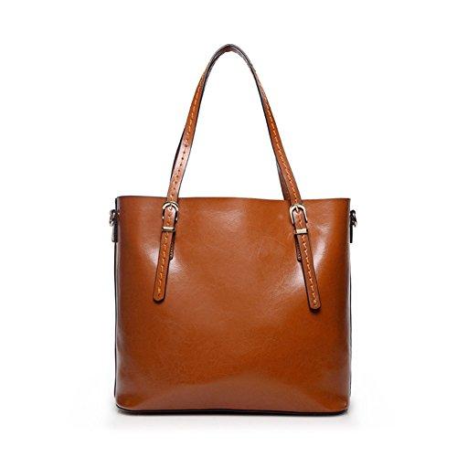 Borsa a tracolla di lavoro quotidiana del sacchetto di spalla del cuoio genuino delle donne (rosso) marrone