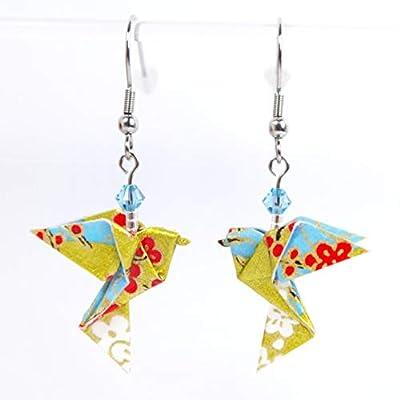 Boucles d'oreilles colombes origami verticales bleues et dorées - crochets inox