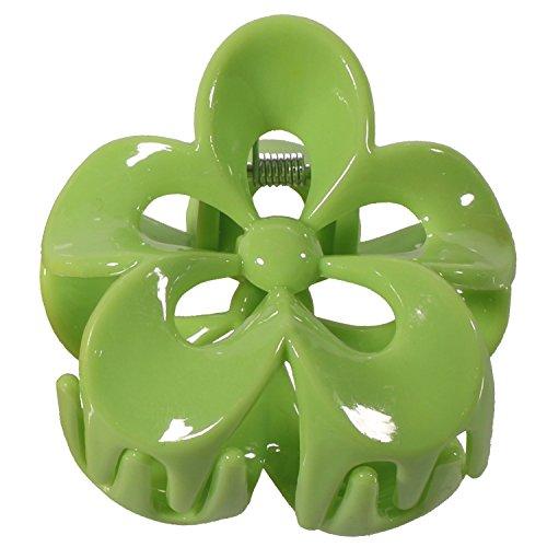 Pince Crabe à Cheveux en Plastique en forme de Fleur - Vert - 5,2 cm - Accessoire Coiffure