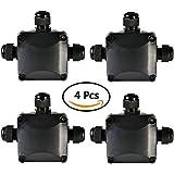 ATPWONZ 4pcs Caja de Conexiones Conector de 3 Vías de Interior/Exterior IP68 Impermeable Súper Ø 5.5mm-10.2mm (Negro)