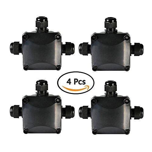 ATPWONZ 4 pcs Boîte de Jonction IP68 Connecteur Étanche 3 Voies Connecteurs Boîtier Électrique Extérieur Ø 5.5mm-10.2mm