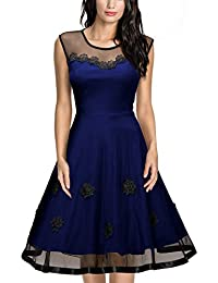 Miusol Femme Robe de Soirée Mesh Robe de mariage Retro Cocktail 1950 Rockabilly Swing Party Robe