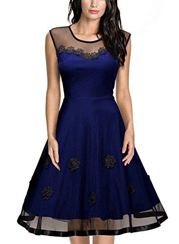 MIUSOL Elegante Chiffon Coctel Vestito Donna Corta Blu L