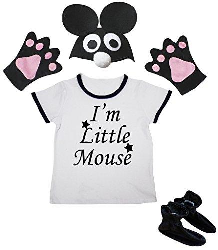 Ich Ein Bin Kostüm Maus - Petitebelle Ich bin Mäuschen Shirt Black Hat Glove-Schuh-Mädchen 4pc Kostüm 3-4 Jahre Schwarz-Weiss