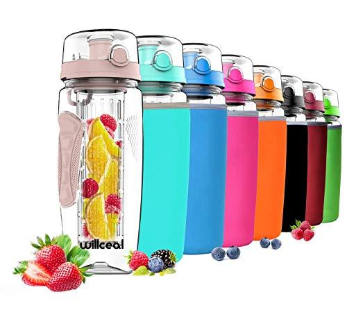 willceal Wasserflasche mit Fruchteinsatz 945 ml - Hochwertig und beständig - Groß, BPA-frei, aus Tritan - Aufklappbarer Deckel mit Tragegriff - Auslaufsicheres Design (Tupperware-shaker-flasche)