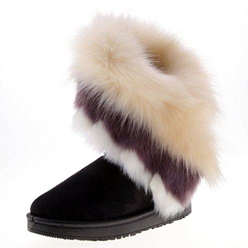 Mujer Zapatos Invierno - Botas de nieve calientes de piel con pelo forradas con suela antideslizante para Mujer