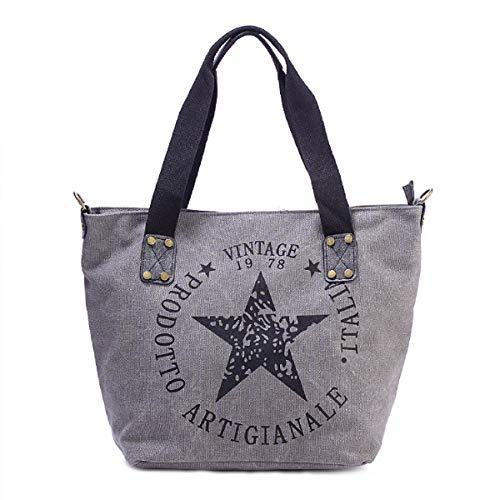 Joytea Star Shopper-Tasche Vintage Stern Damen Stamp Tasche Mode Henkeltasche Canvas Stoff - Star Canvas-tasche
