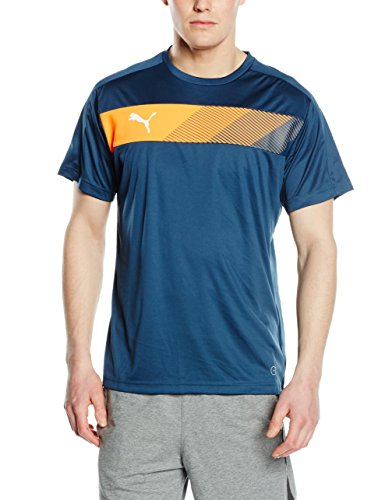 Puma IT Evotrg Graphic - Maglietta a maniche corte Powercool, da uomo, Uomo, T-Shirt IT Evotrg Powercool Graphic Tee, Blue Wing Teal-Orange Pop, L