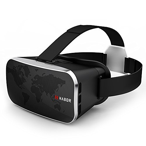 Price comparison product image Habor 3D VR Virtual Reality Headset Virtual Video Glasses for 3D Movies/Games for 4.0 - 6.0 inches Smartphones iPhone 6s 6 Plus Samsung Galaxy series (Black)