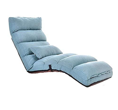 Lazy People Chair Silla de sofá Plegable Individual de Estilo japonés Balcón Balcón Ventana Lounge Lounge Sucio, Resistente al Desgaste 205 * 56 * 20cm (Color: Verde) (Color : Azul, tamaño : -)