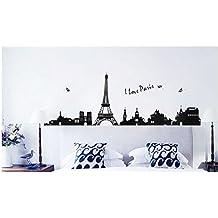 Pegatina de pared vinilo adhesivo vista torre Eiffel y Paris color negro
