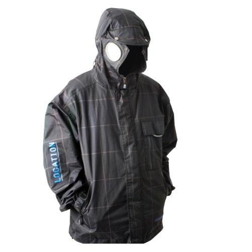 Mens Location Goggle Recco iPod con cappuccio cappotto giacca da pioggia impermeabile Check Print Black Small