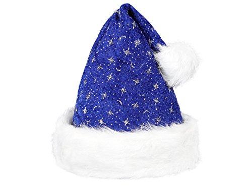 Alsino cappello da babbo natale con pon pon e bordo in felpa (wm-02) blu bianco per adulti uomo donna