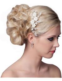 SEXYHER Atemberaubende Haar-Kamm mit Blumen und Kristallen - SH-DL-H0416